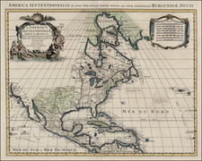 North America Map By Johannes Covens  &  Cornelis Mortier