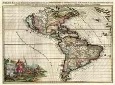 South America and America Map By Pieter van der Aa