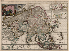 Asia and Asia Map By Pieter van der Aa