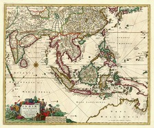 Asia, China, India, Southeast Asia, Australia & Oceania and Australia Map By Nicolaes Visscher I