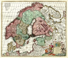 Europe, Baltic Countries and Scandinavia Map By Johannes Covens  &  Cornelis Mortier