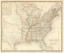 United States and Texas Map By Alexander Keith Johnston