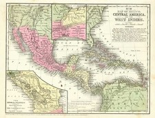 Mexico, Caribbean, Central America and South America Map By Samuel Augustus Mitchell Jr.