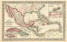 Southwest, Mexico and Caribbean Map By Samuel Augustus Mitchell Jr.