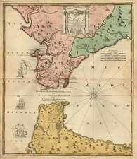 Europe, Spain, Mediterranean, Africa and North Africa Map By Homann Heirs