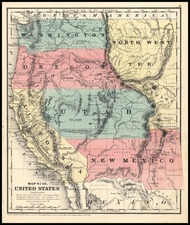 Southwest, Rocky Mountains and California Map By Daniel Burgess & Co.