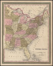 United States Map By Samuel Augustus Mitchell