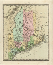 New England Map By Moses Greenleaf