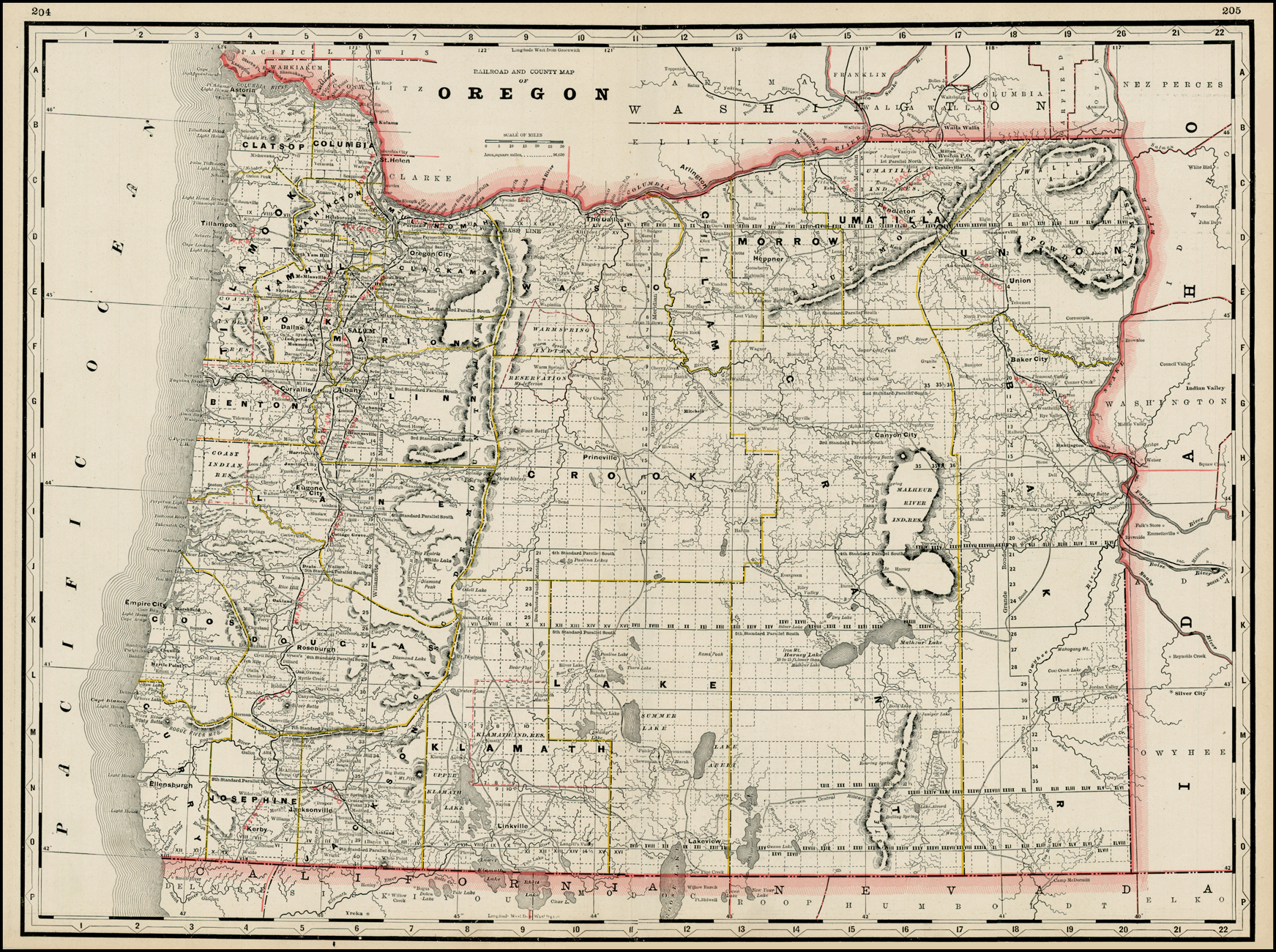 Railroad And County Map Of Oregon Barry Lawrence