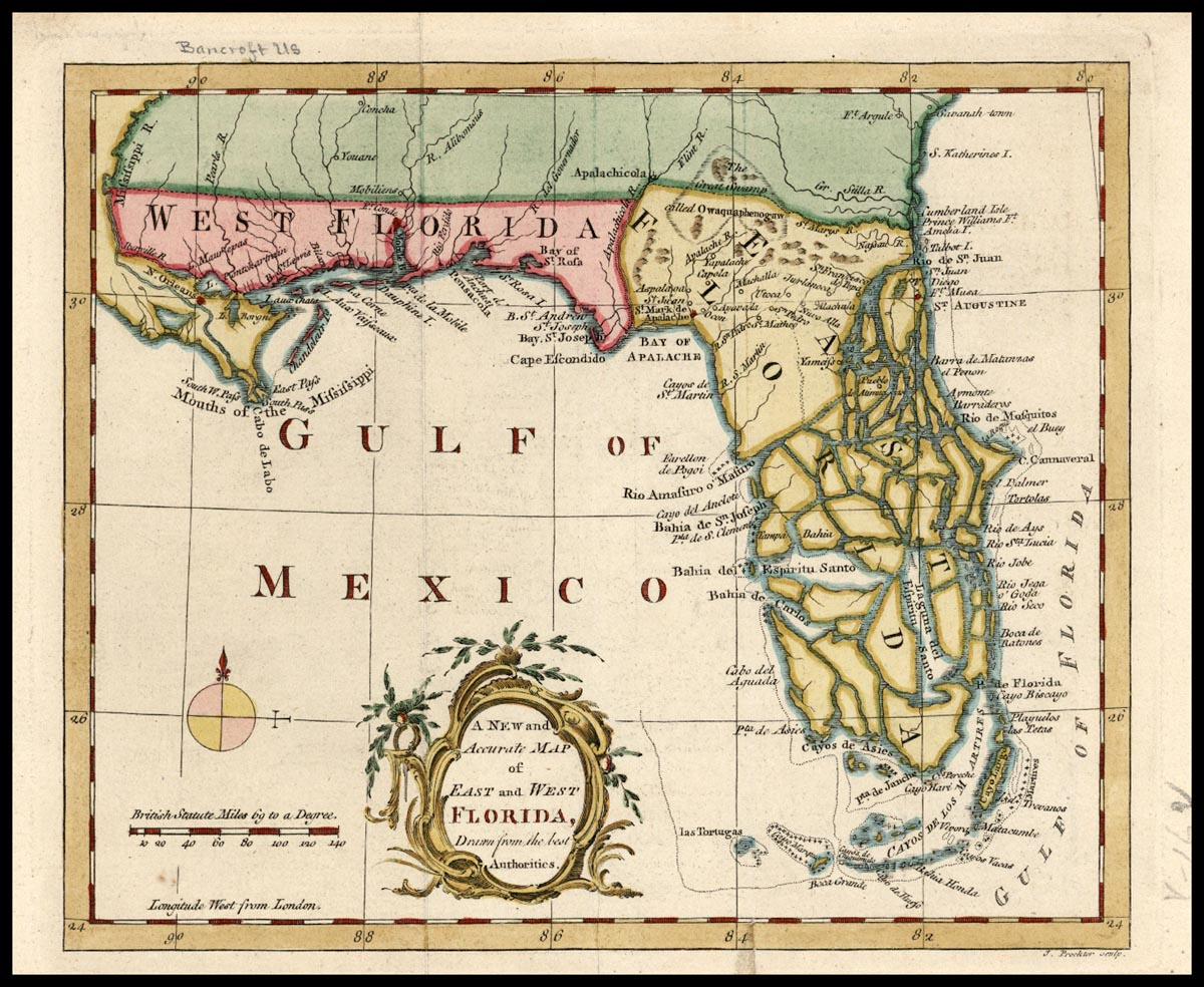 West Florida Map.A New And Accurate Map Of East And West Florida Drawn From The Best