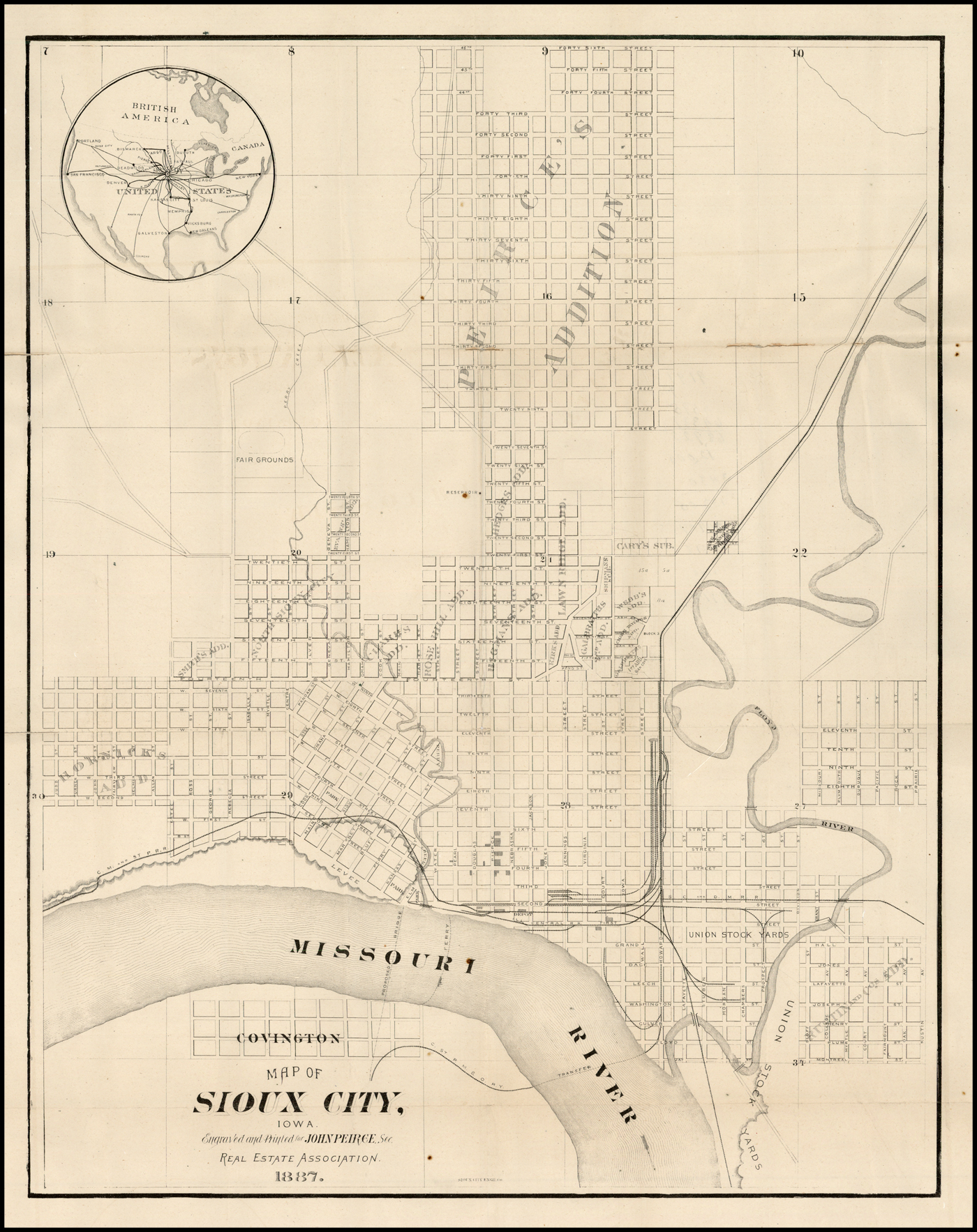 Map of Sioux City Iowa Engraved and Printed for John Peirce