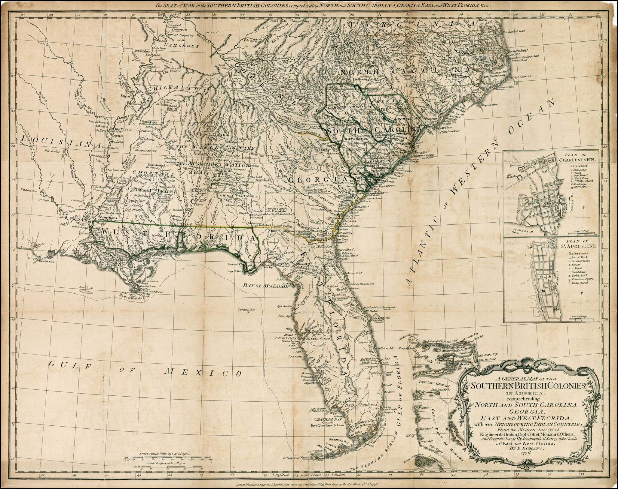 Map Of East Georgia.A General Map Of The Southern British Colonies In America