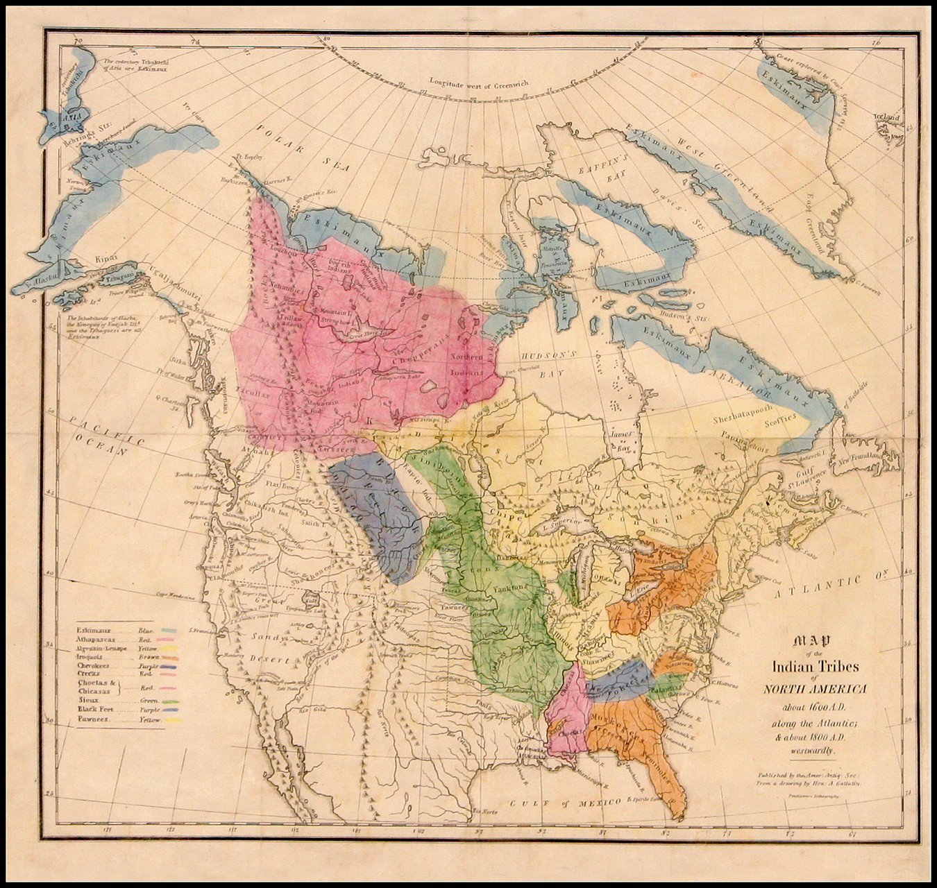 Map of the Indian Tribes of North America about 1600 A.D. along the ...
