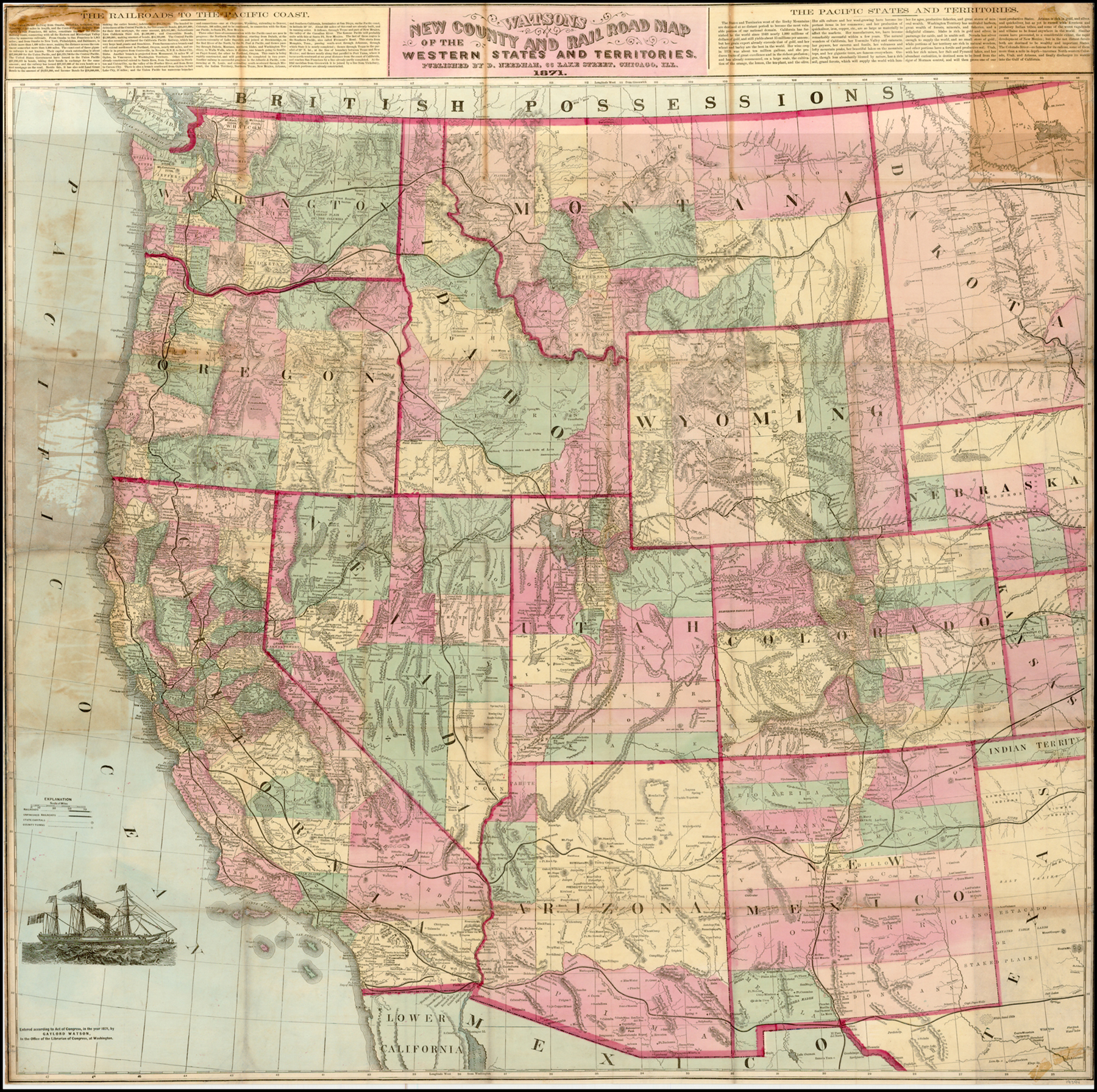 Watsons New County and Rail Road Map of the Western States ...