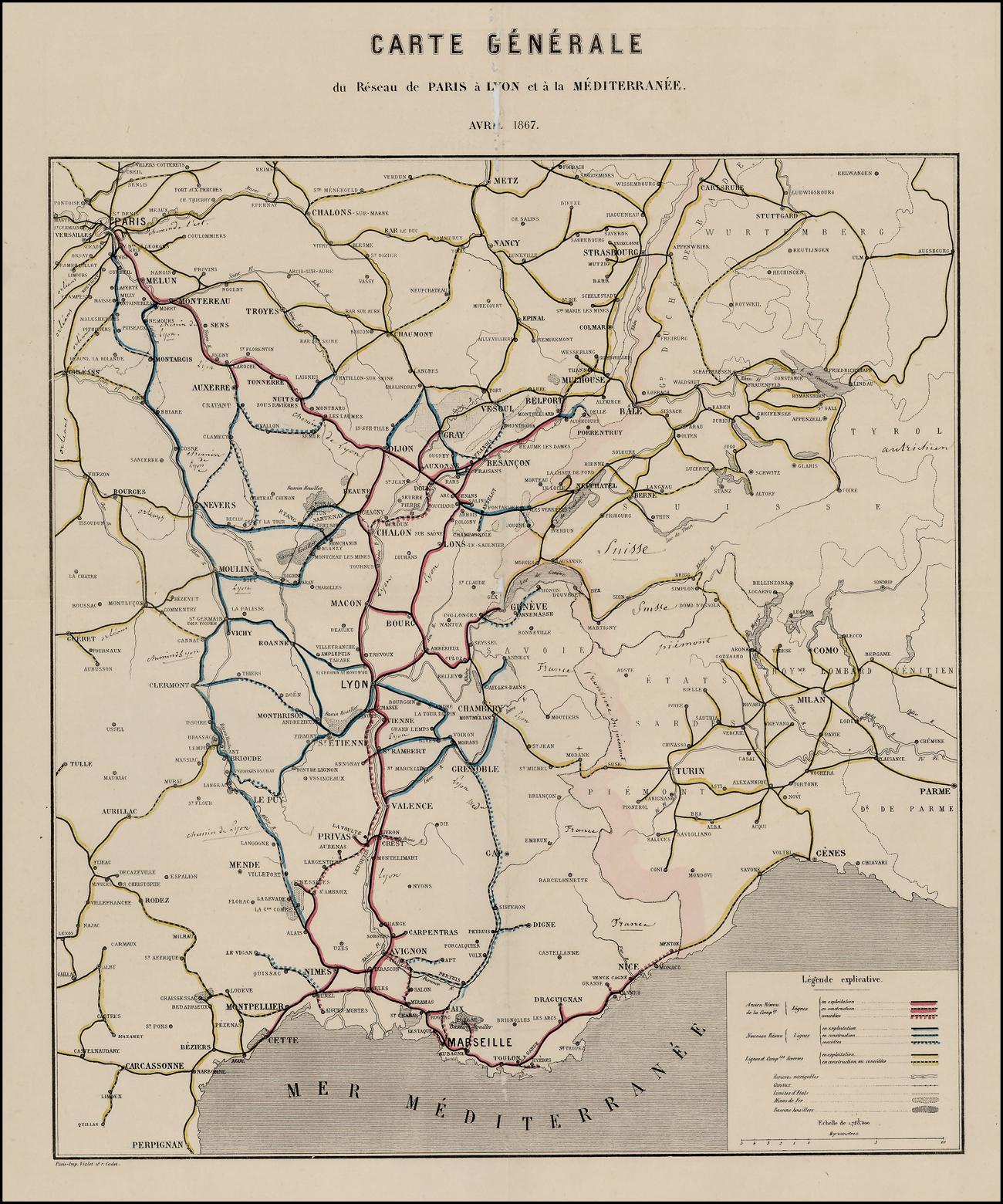 Carte Generale Du Reseau De Paris A Lyon Et A La Mediterranee Avril 1867 Barry Lawrence Ruderman Antique Maps Inc