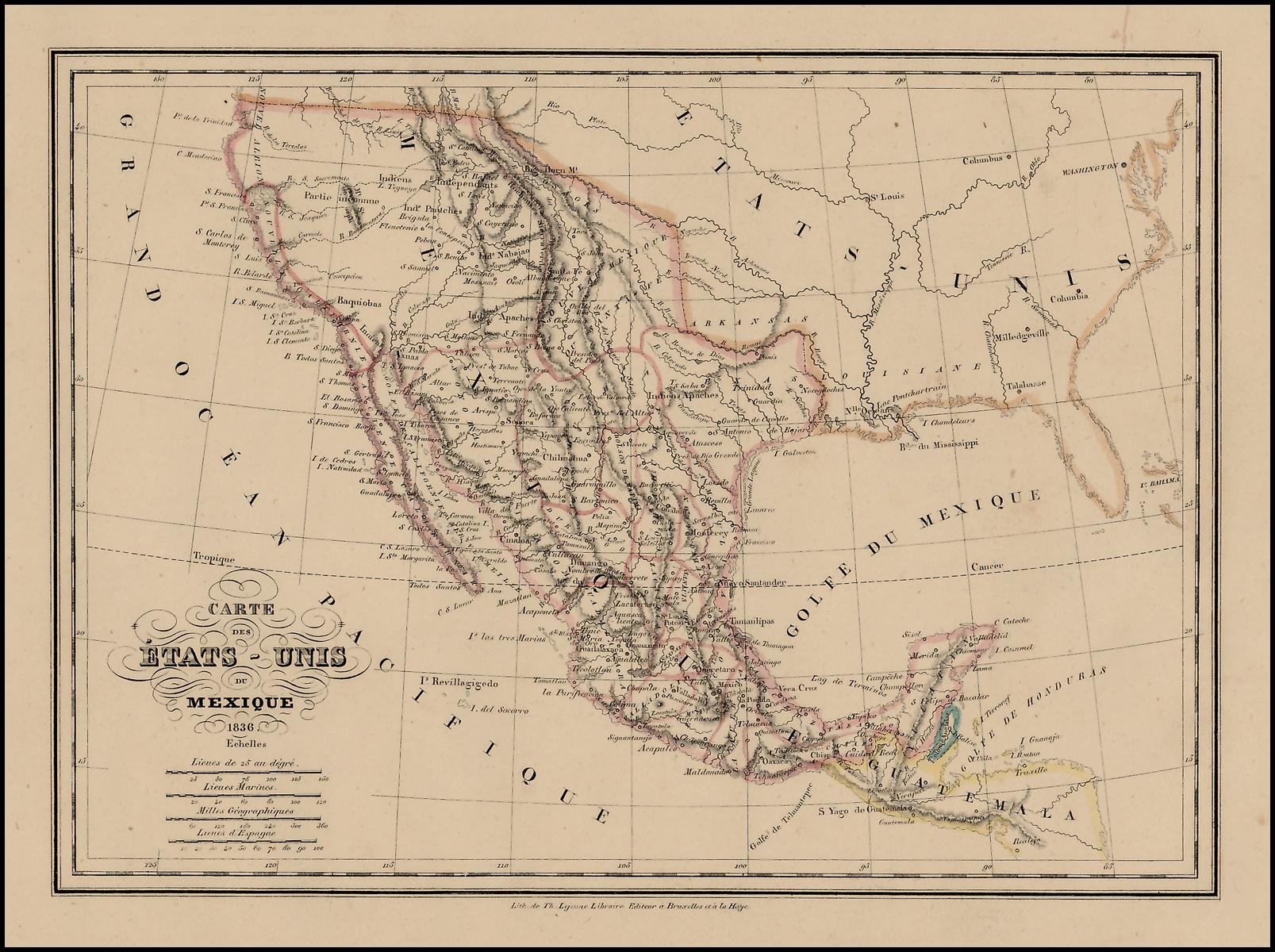 Carte Des Etats Unis Du Mexique 1836 Republic Of Texas