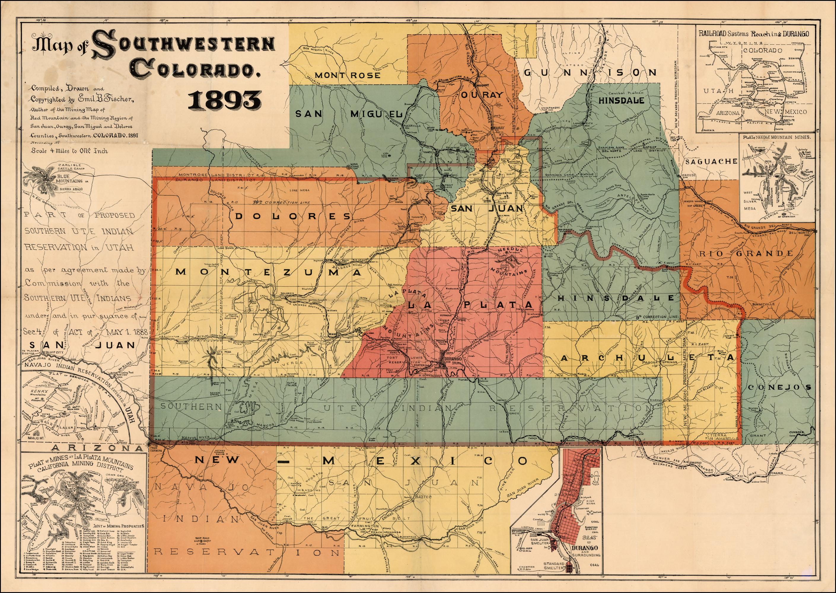 Map Of Arizona 1880.Map Of Southwestern Colorado 1893 Compiled Drawn And Copyrighted