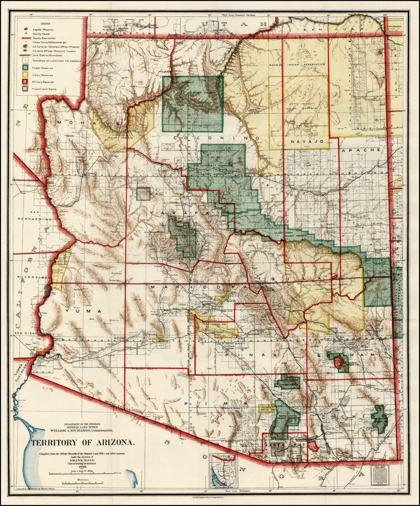 Territory of Arizona . . . 1903 - Barry Lawrence Ruderman ... on general map of georgia, general map of florida, general map of manhattan, general map of idaho, general map of paris,