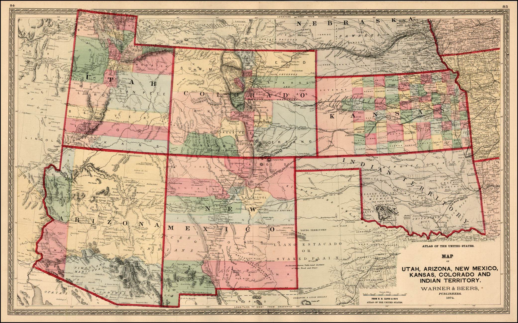 Map Of Arizona Utah And Colorado.Map Of Utah Arizona New Mexico Kansas Colorado And Indian