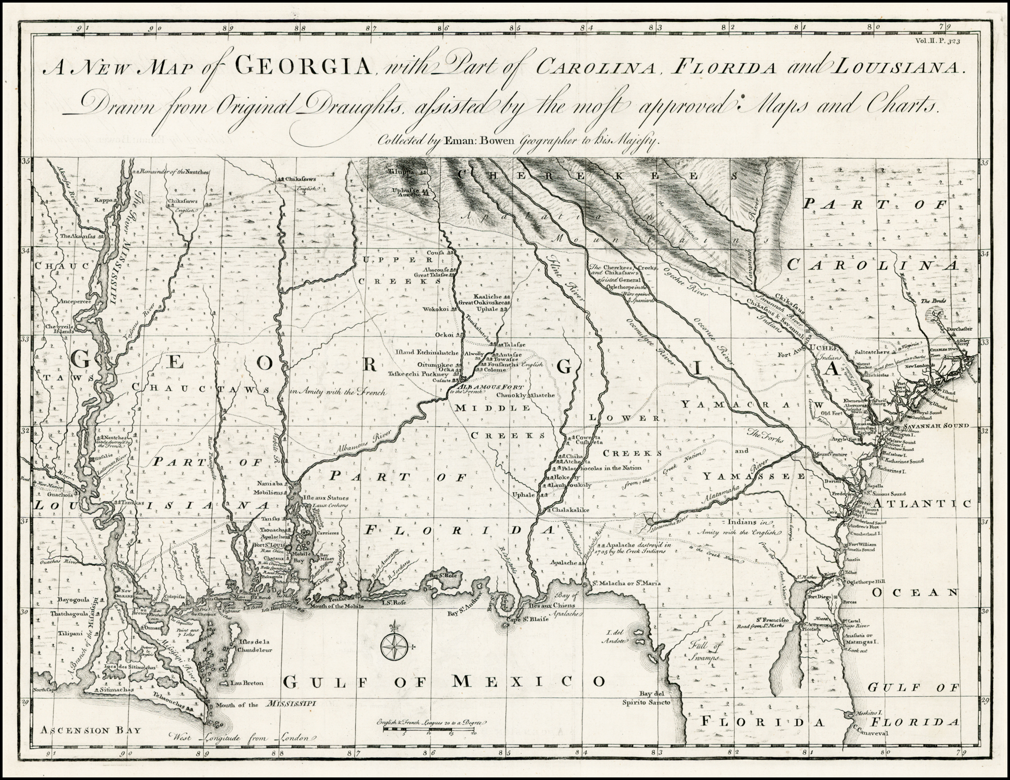 Map Of Georgia Colony.A New Map Of Georgia With Part Of Carolina Florida And Louisiana