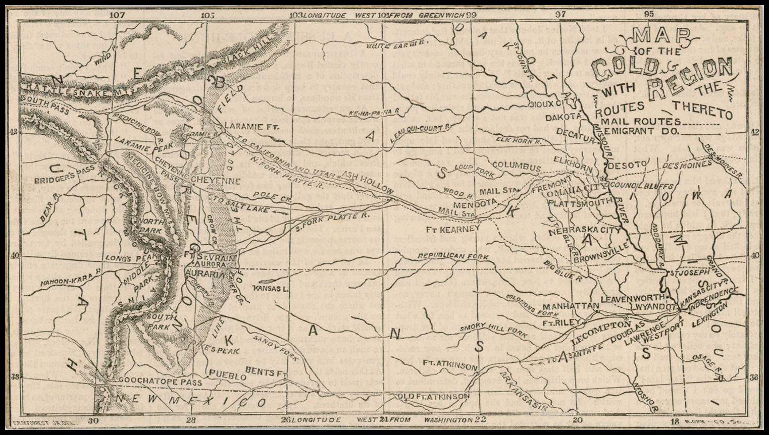Map of the Gold Region with the Routes Thereto [Colorado ... Gold Rush Map on z nation map, underground railroad map, the great train robbery map, mining map, the revolution map, gold trade map, klondike map, grand canyon map, gold at sutter's mill, colonial expansion map, alaska map, the 100 map, compromise of 1850 map, gold mining tools, mexican cession map, world copper mine map, missouri compromise map, us gold map, manifest destiny map, gold production map,