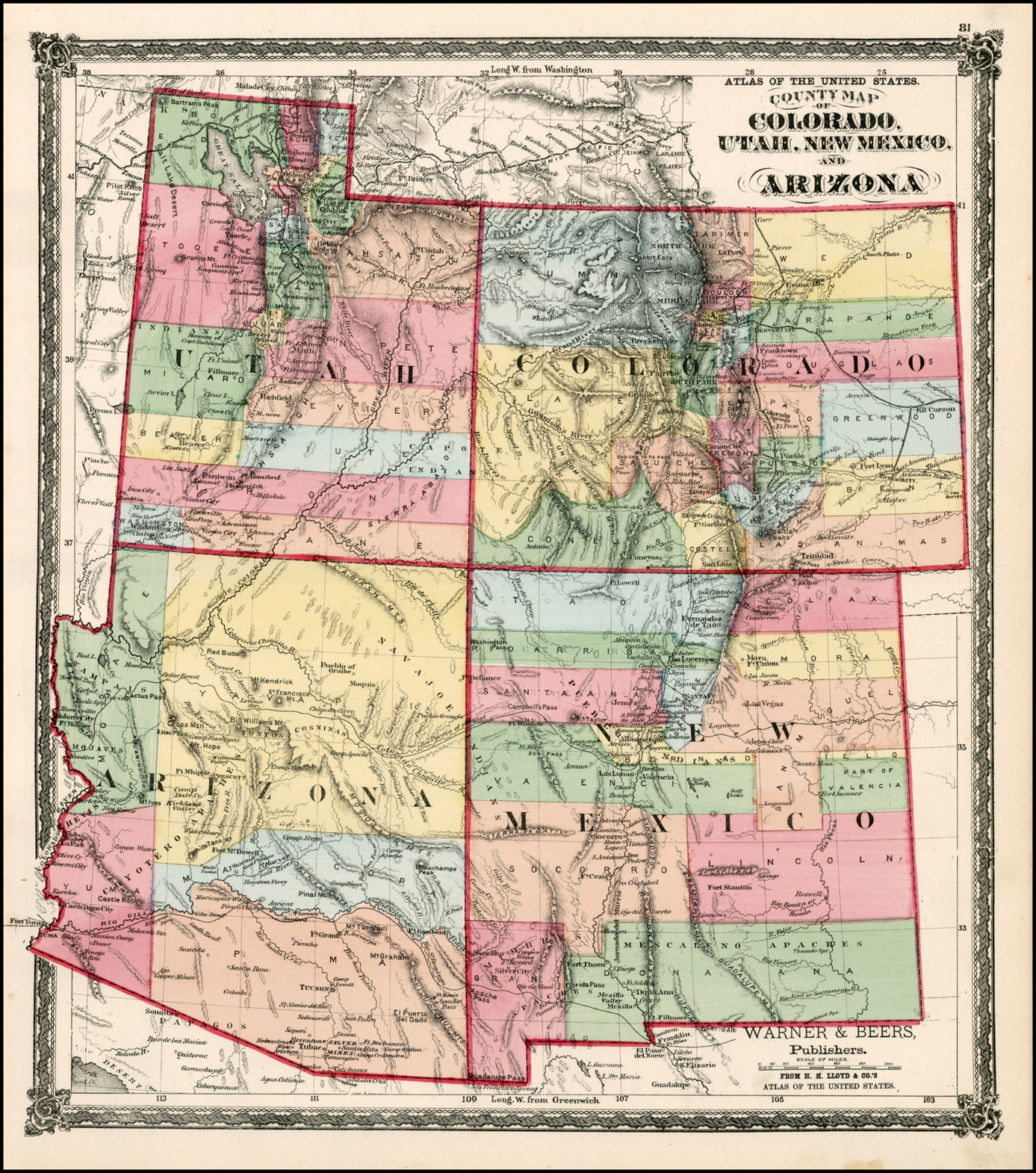 County Map of Colorado, Utah, New Mexico And Arizona - Barry ...