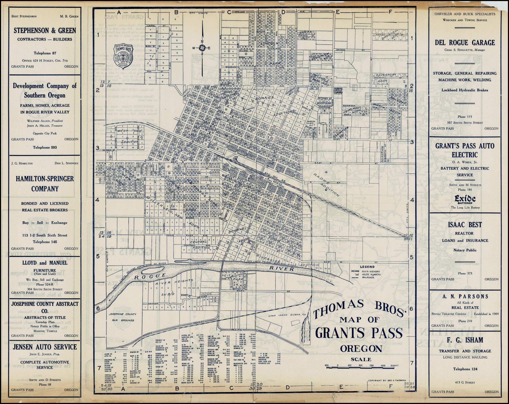 Thomas Bros. Map of Grants P Oregon - Barry Lawrence ... on