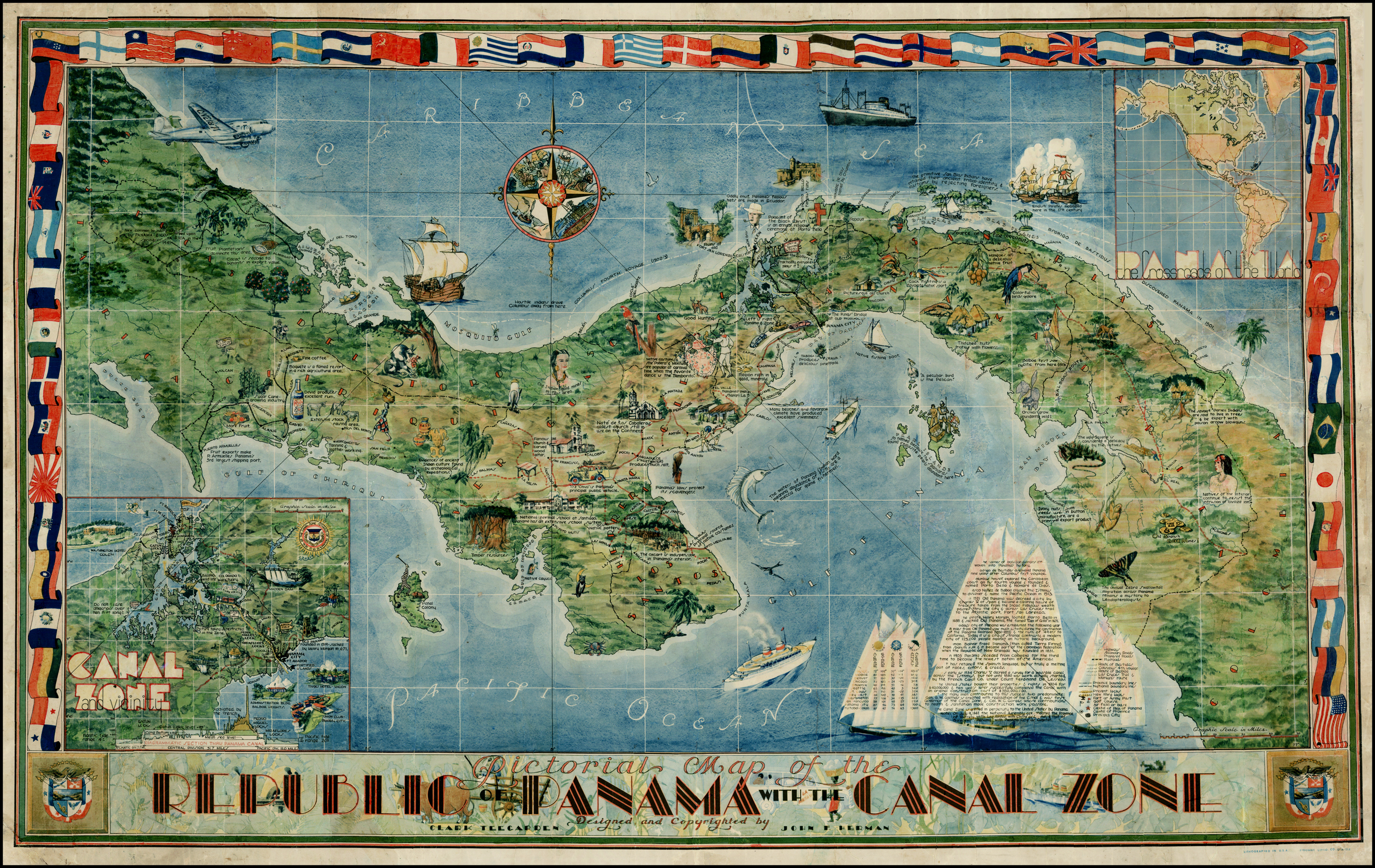 Pictorial Map of The Spanish Americas on the Panama Mail Steamship Wall Poster