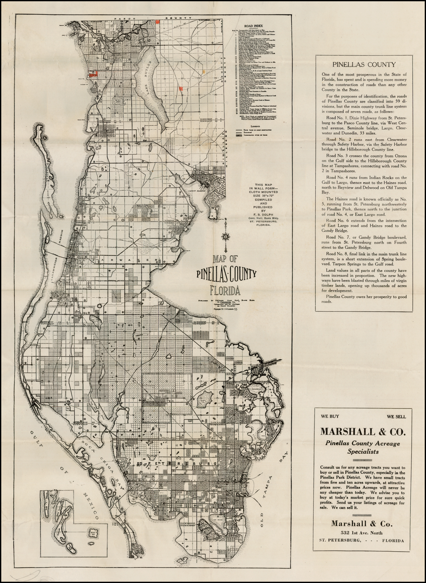 Map Of Pinellas County Florida 1925 Barry Lawrence