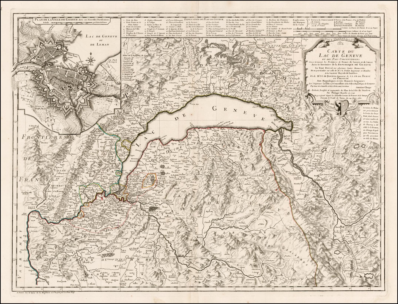 Carte Du Lac De Geneve et des Pays Circonvoisins ou se ...