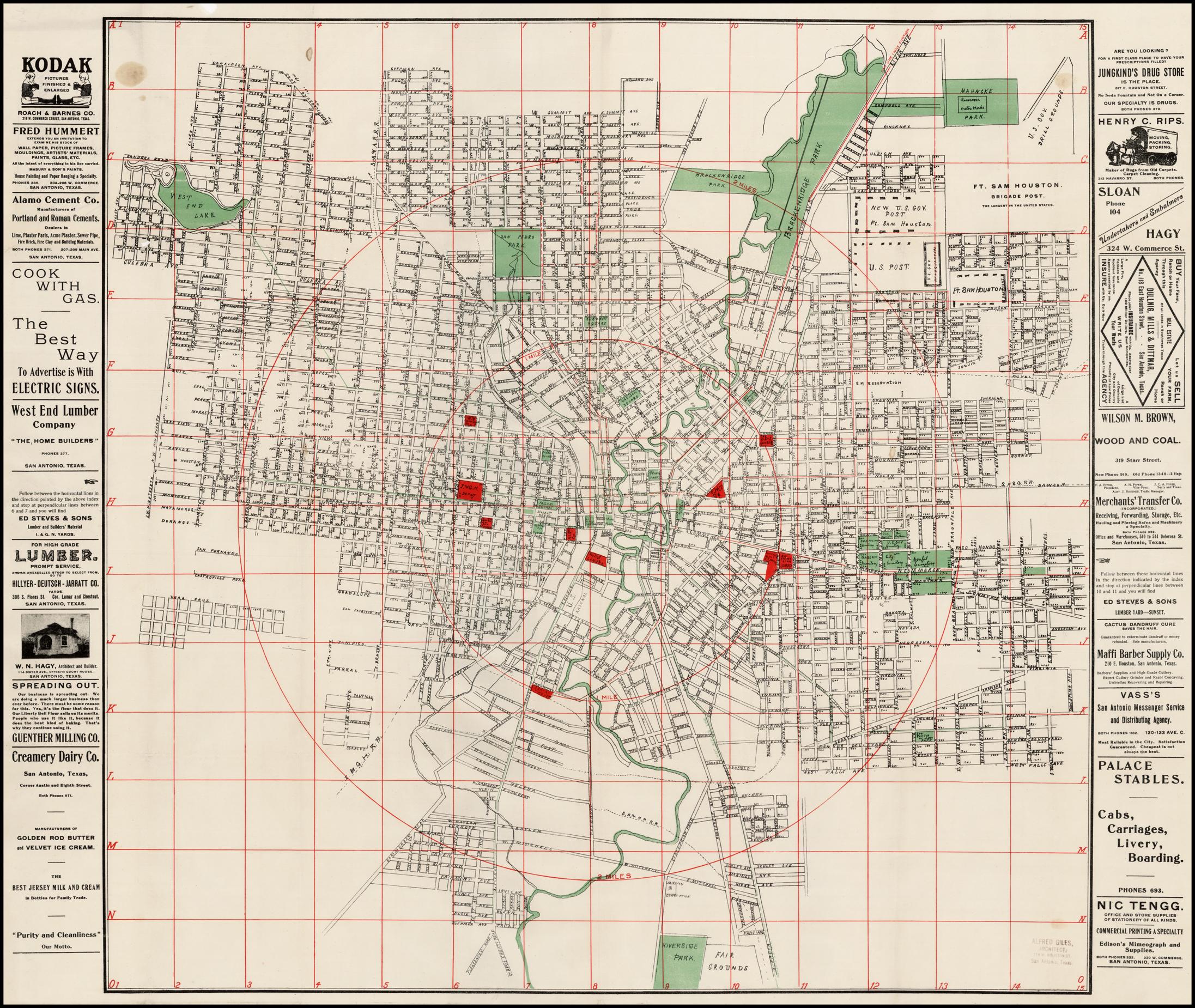 San Antonio, Texas ] - Barry Lawrence Ruderman Antique Maps Inc.