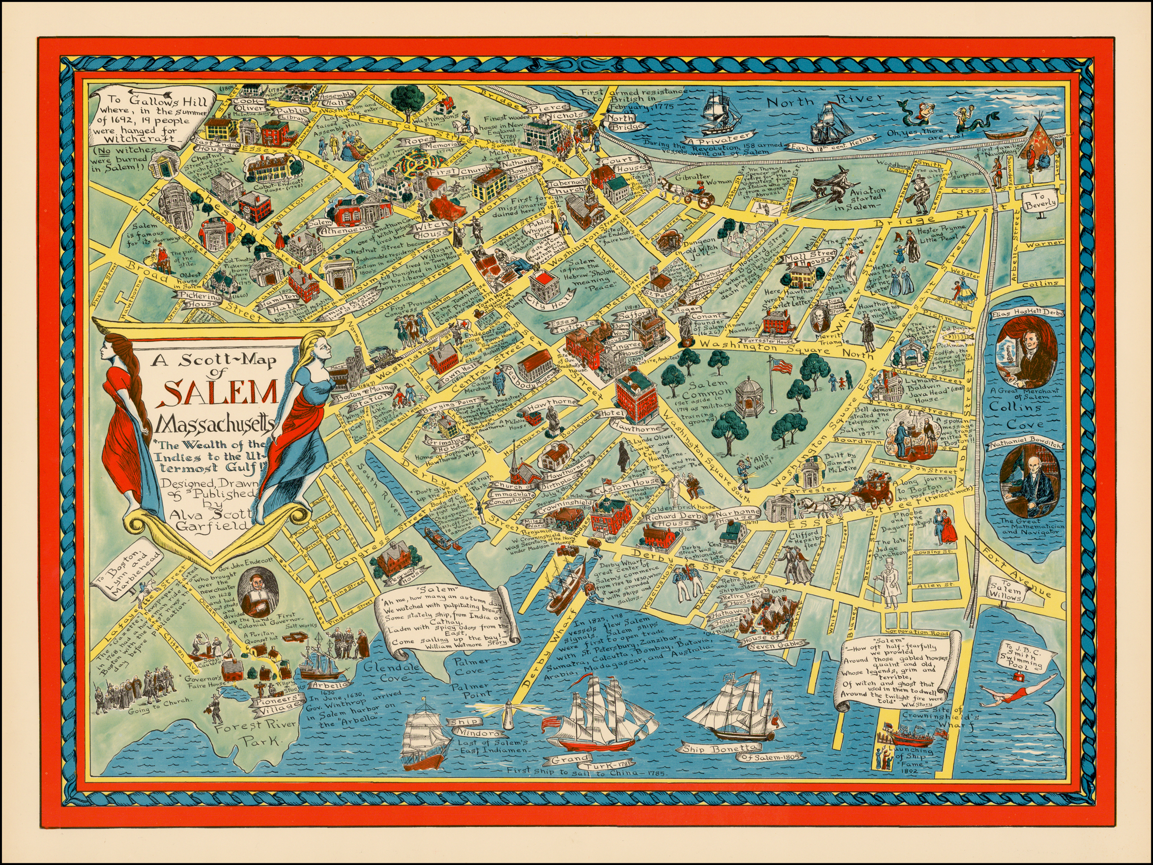 "A Scott-Map of SALEM Massachusetts ""The Wealth of the Indies ..."