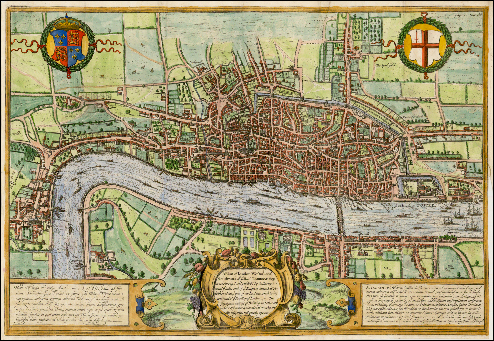 London 1600 Map.A Plan Of London Westmr And Southwark Wth Ye Rivr Thames As They