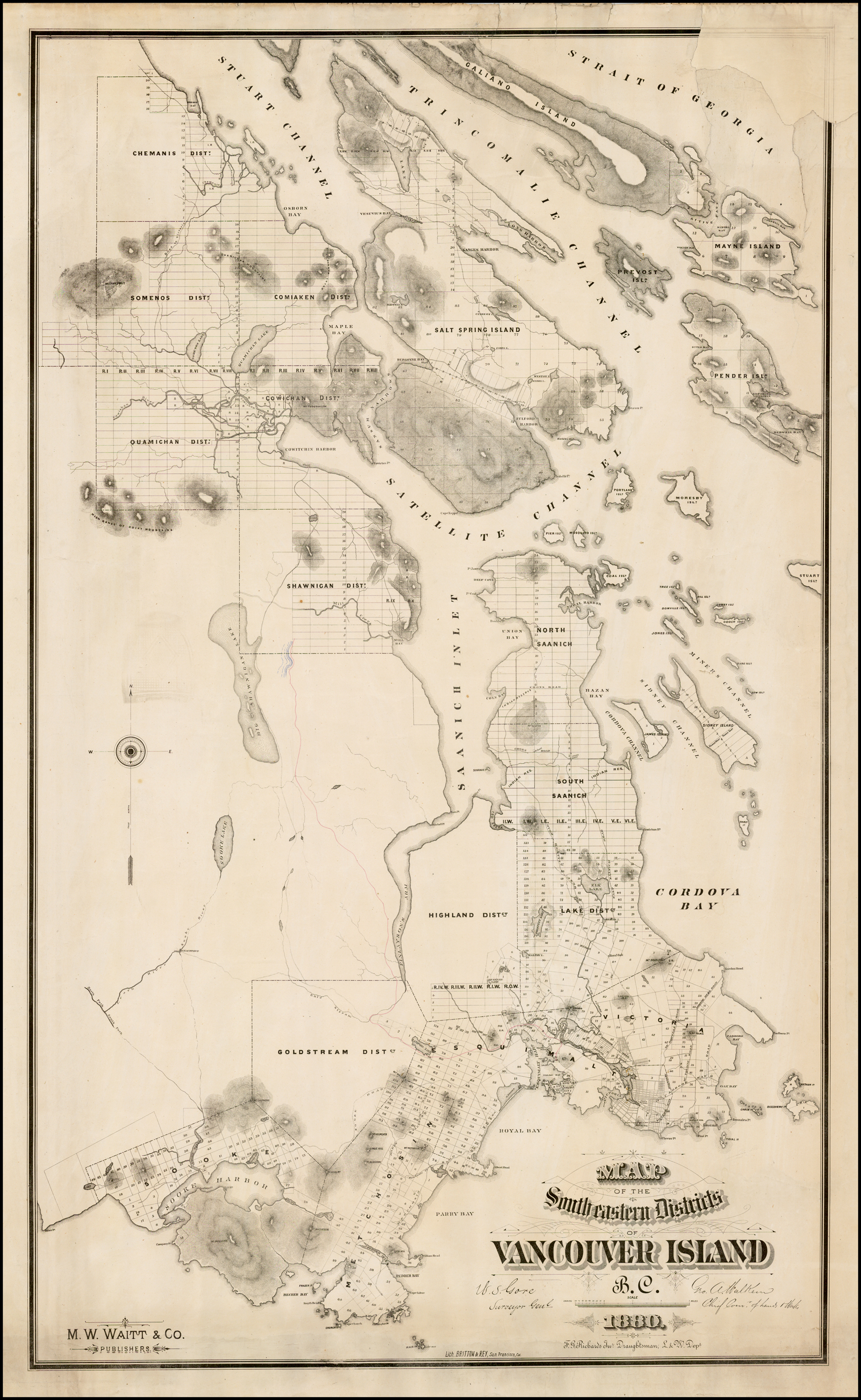 Nanaimo Canada Vintage Map Map of the South eastern Districts of Vancouver Island, B.C. 1880