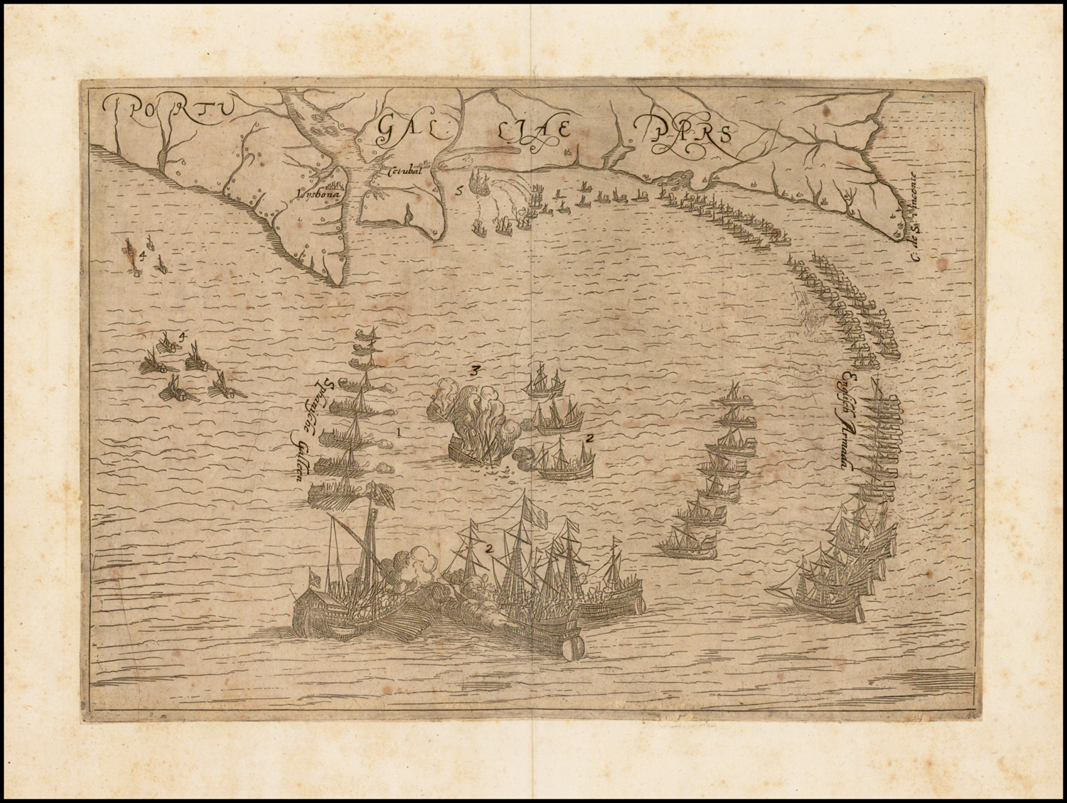 Image of: Portugaliae Pars Showing A Naval Battle Between English Armada And The Spanish Galleons Off The Coast Of Portugal Barry Lawrence Ruderman Antique Maps Inc