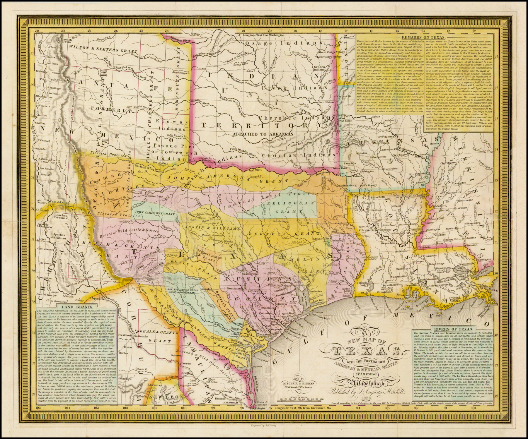 Map Of Texas 1836.A New Map Of Texas With The Contiguous American Mexican States