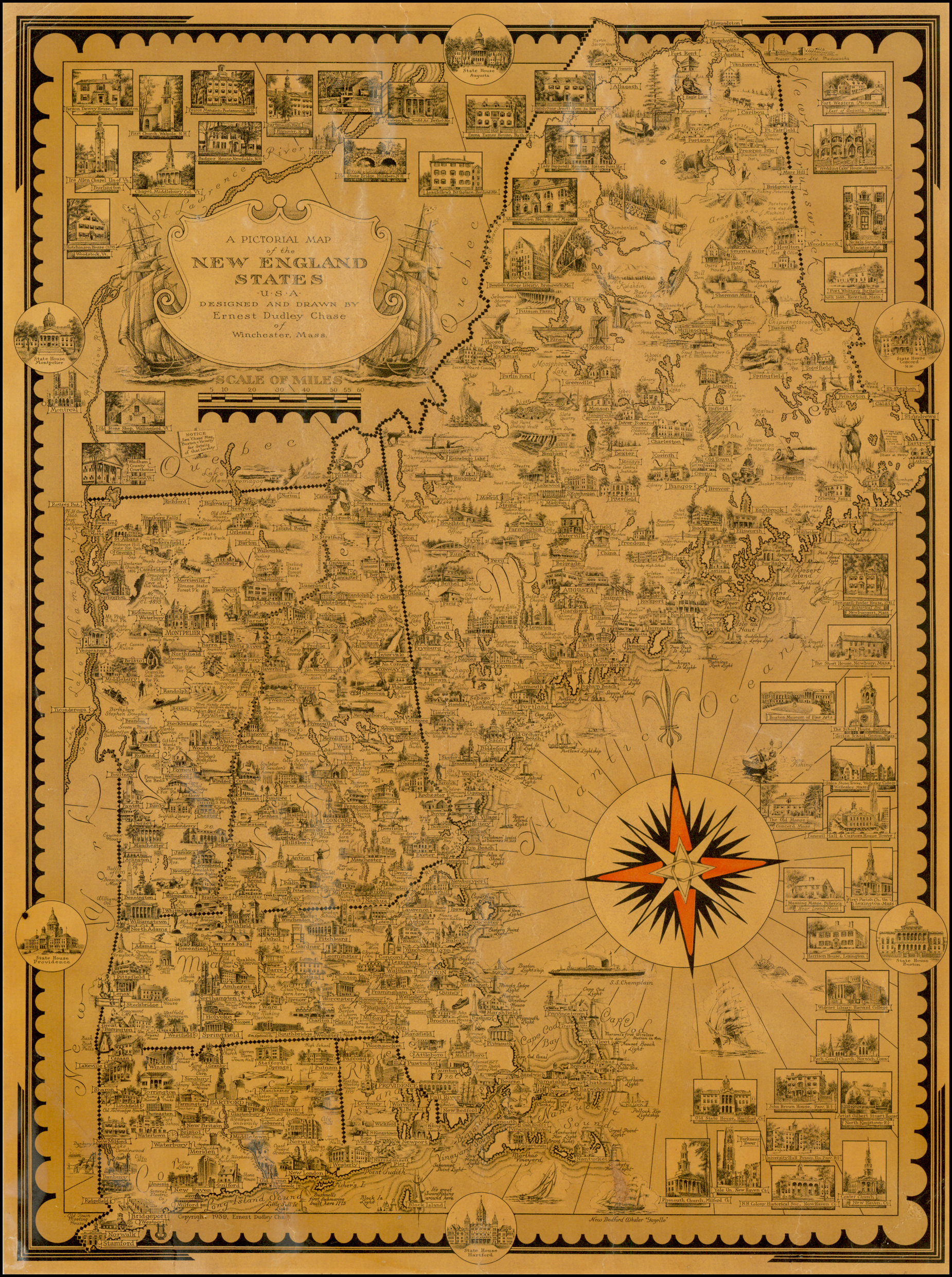 A Pictorial Map of the New England States USA . . . - Barry ...
