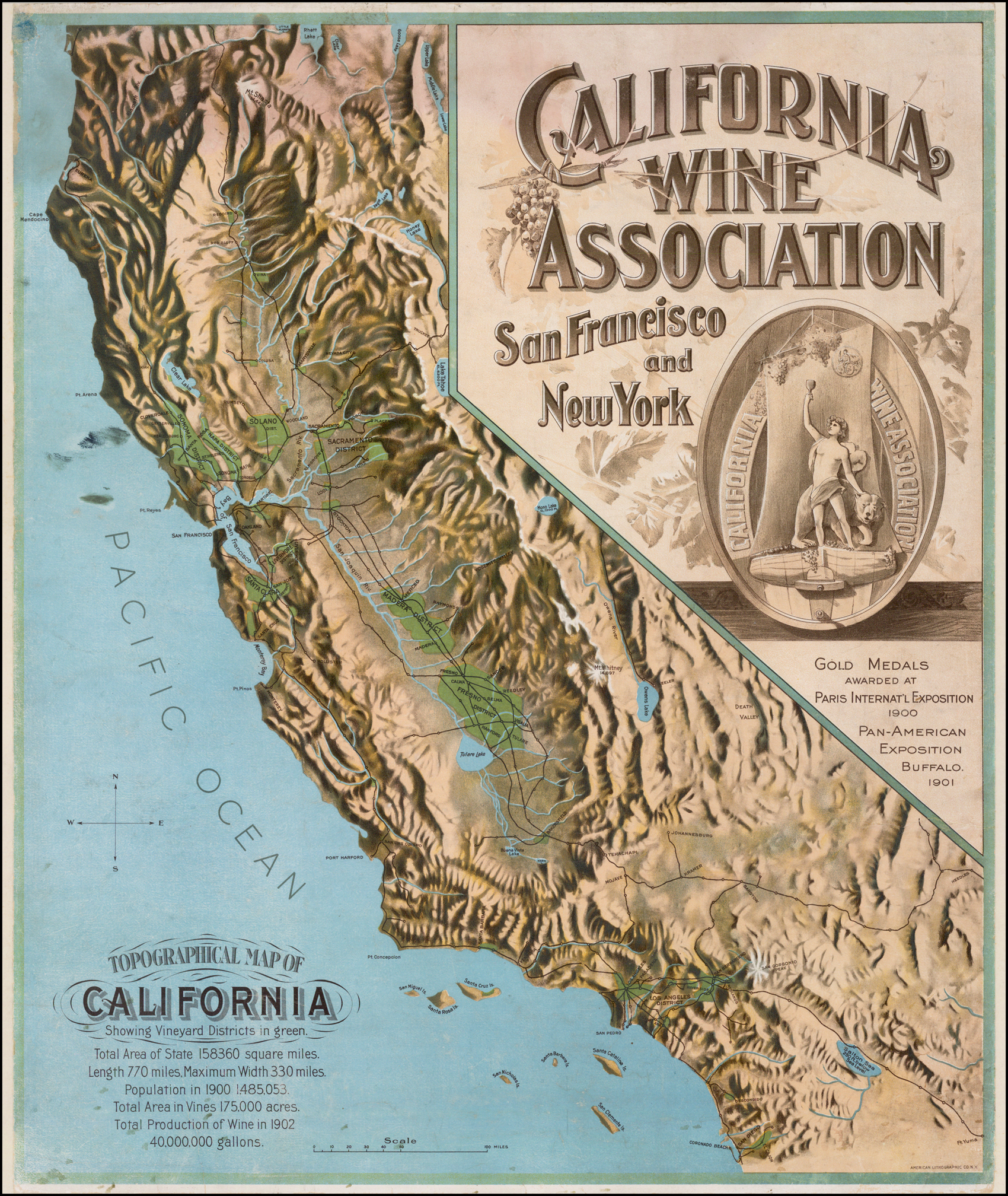 California Map Topography.Topographical Map Of California Showing Vineyard Districts In Green