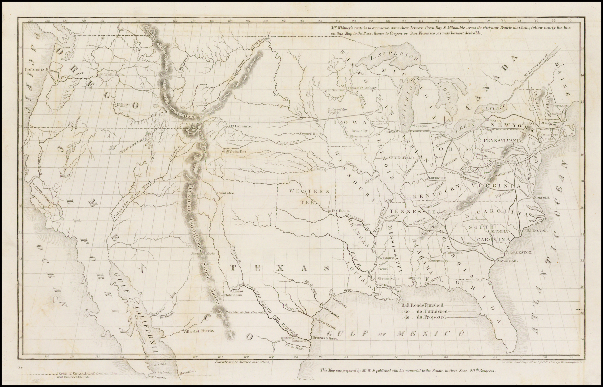 Proposed Transcontinental Railroad Routes -- Map of the