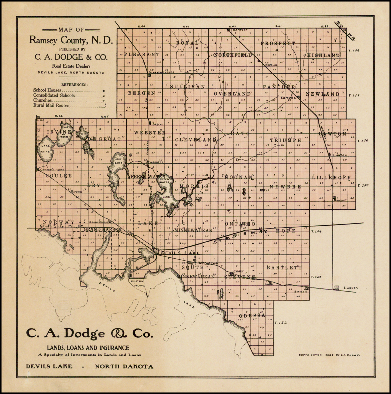 Map of Ramsey County, N.D. Published By C.A. Dodge & Co ... Map Of Dodge North Dakota on dodge north dakota school, dodge steele county map, dodge texas map, dodge nebraska map,