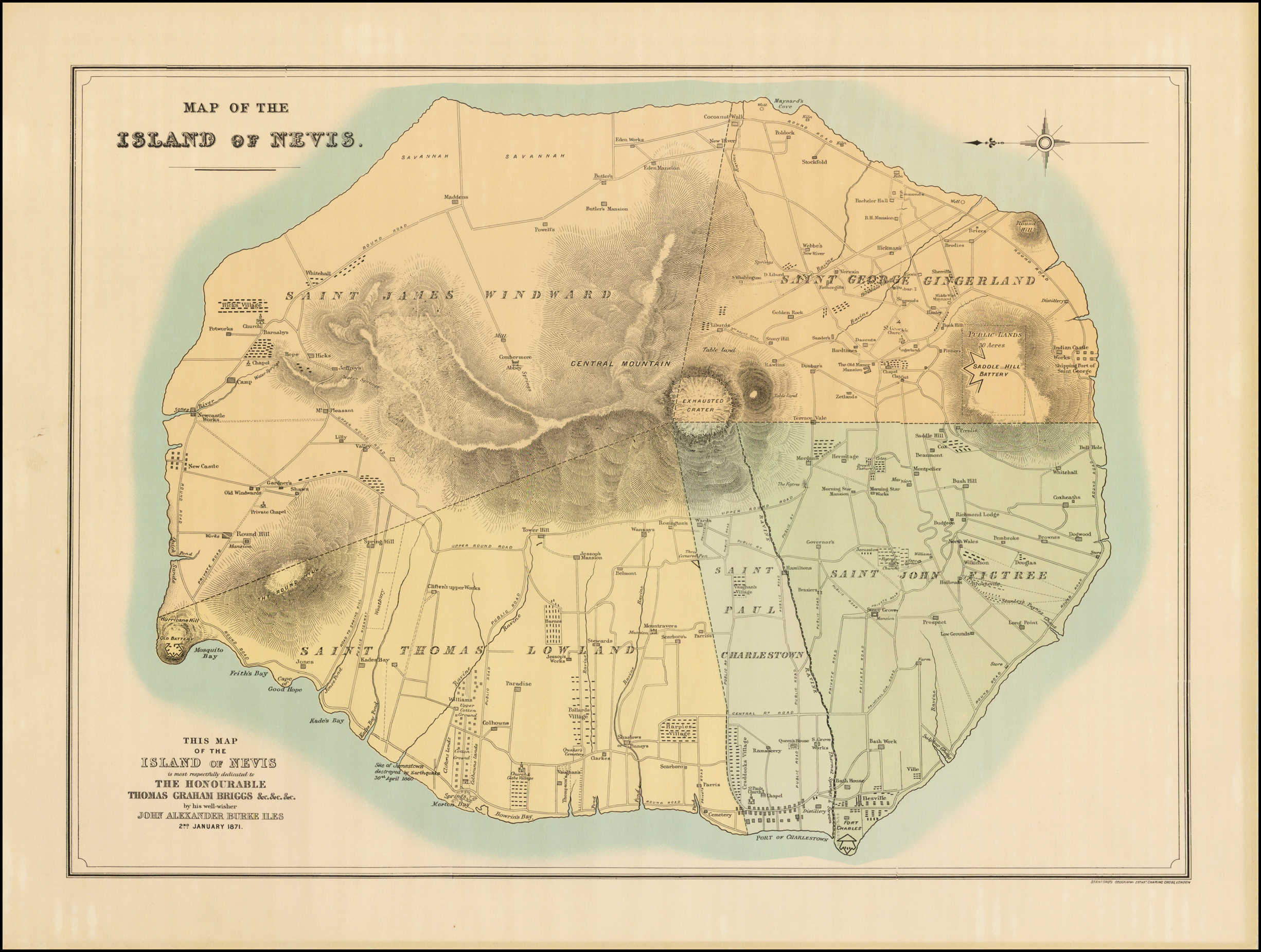 Map of the Island of Nevis / This Map of the Island of Nevis ...
