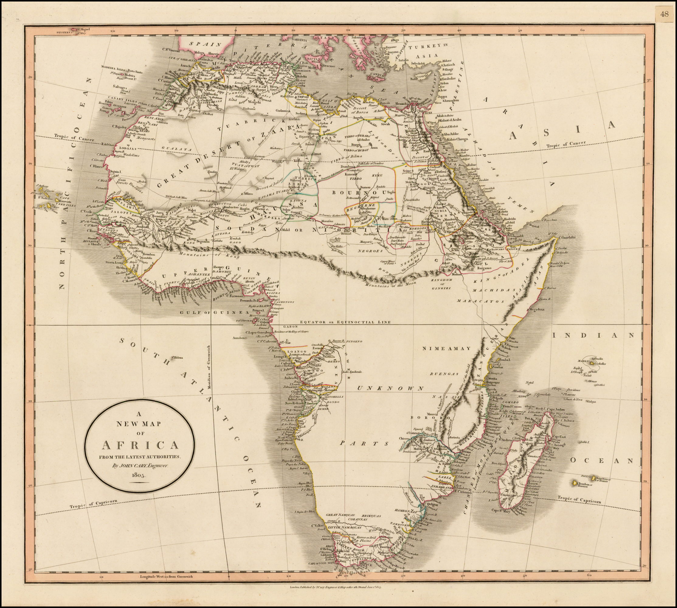 A New Map of Africa, From the Latest Authorities . . . 1805 ...