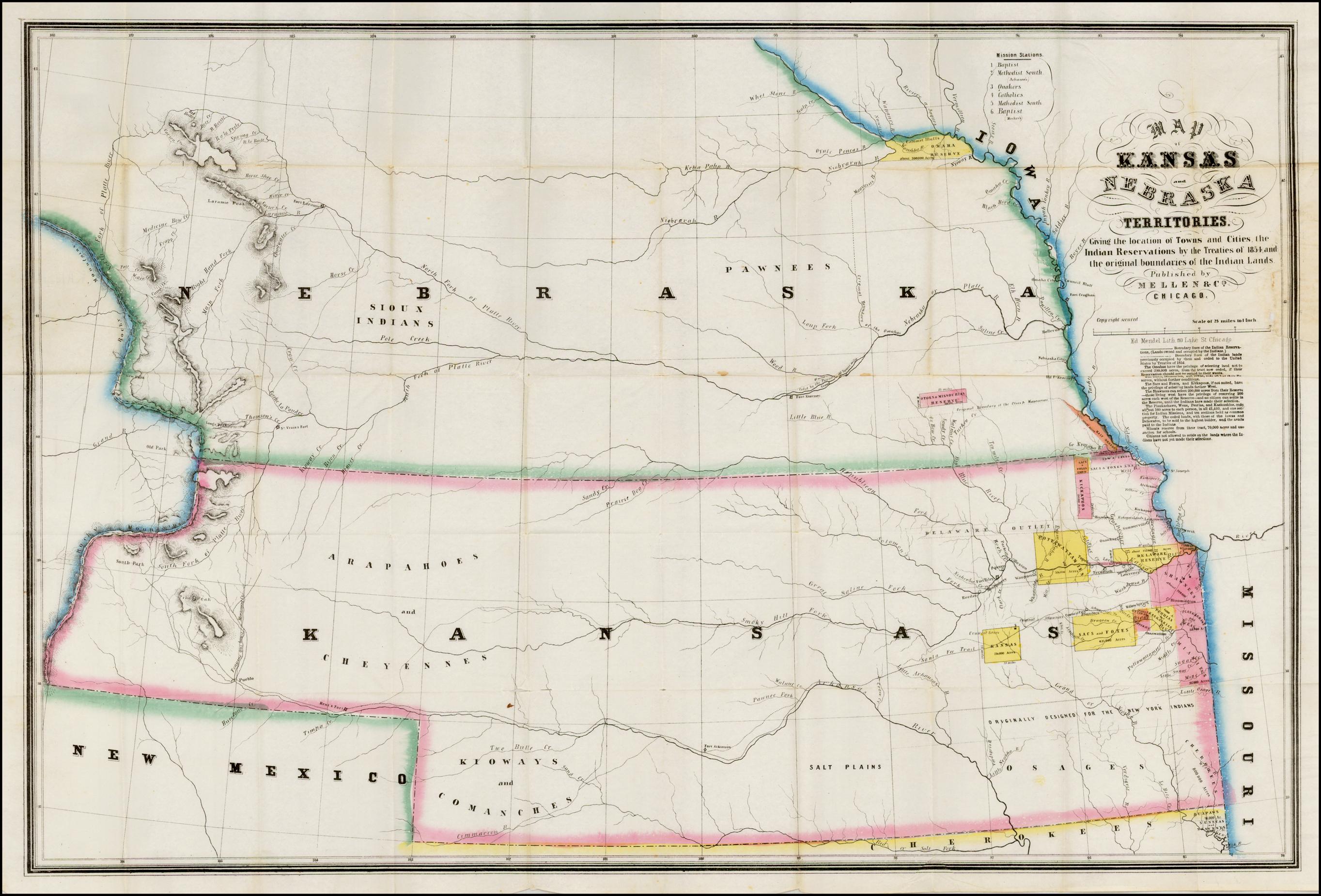 map of kansas and nebraska territories. giving the location