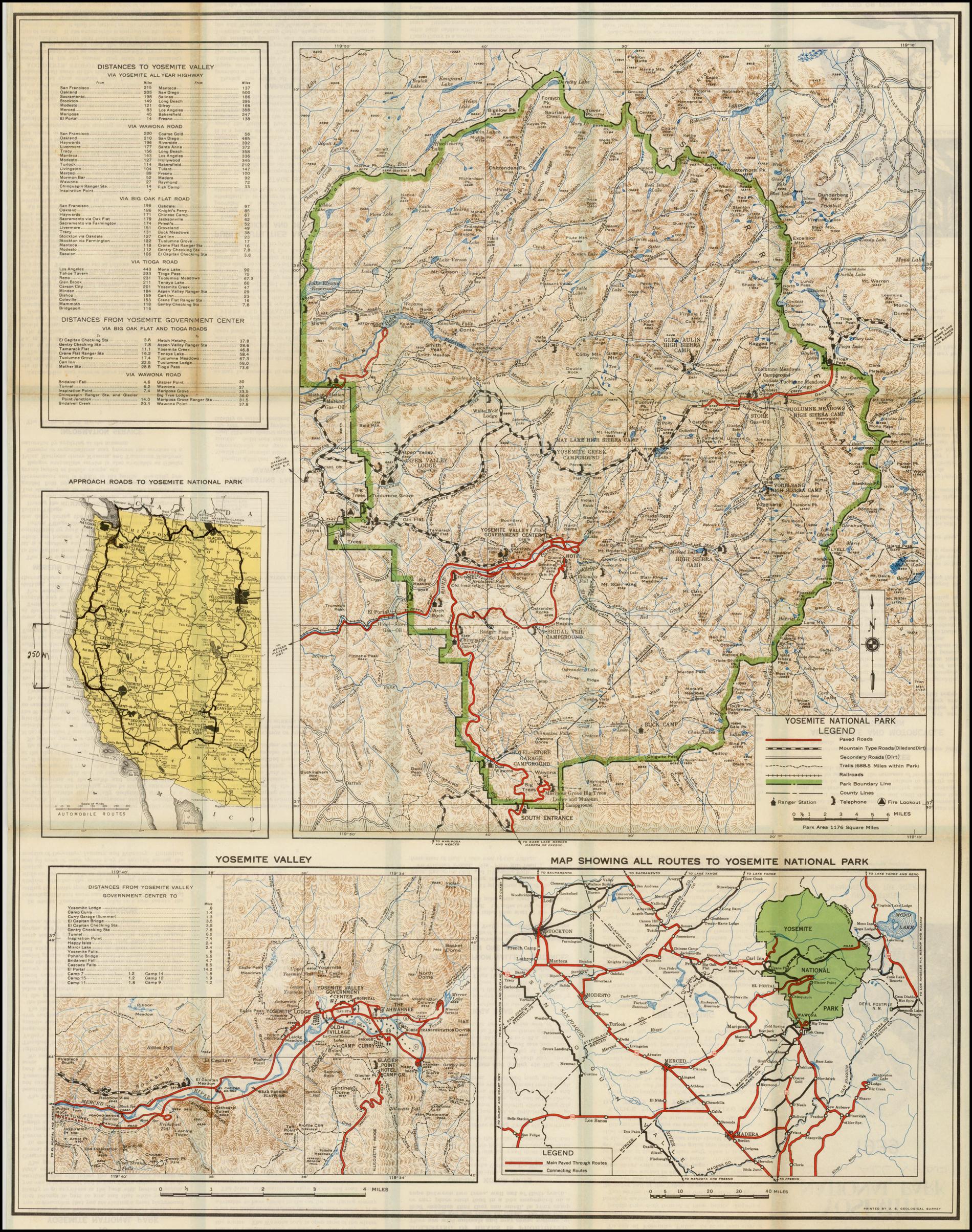 Cartina Yosemite National Park.Guide Map Yosemite National Park 1939 Barry Lawrence Ruderman Antique Maps Inc