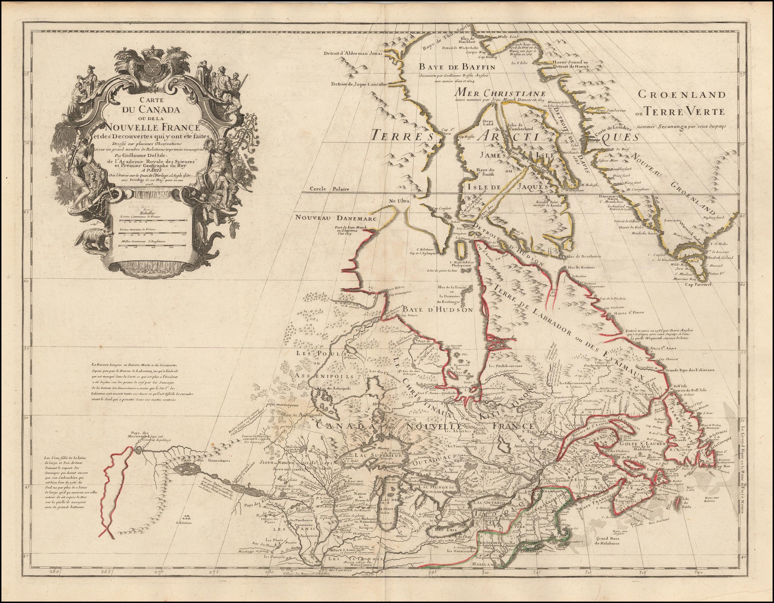 Early Map Of Canada Carte Du Canada ou de la Nouvelle France et des Decouvertes qui y