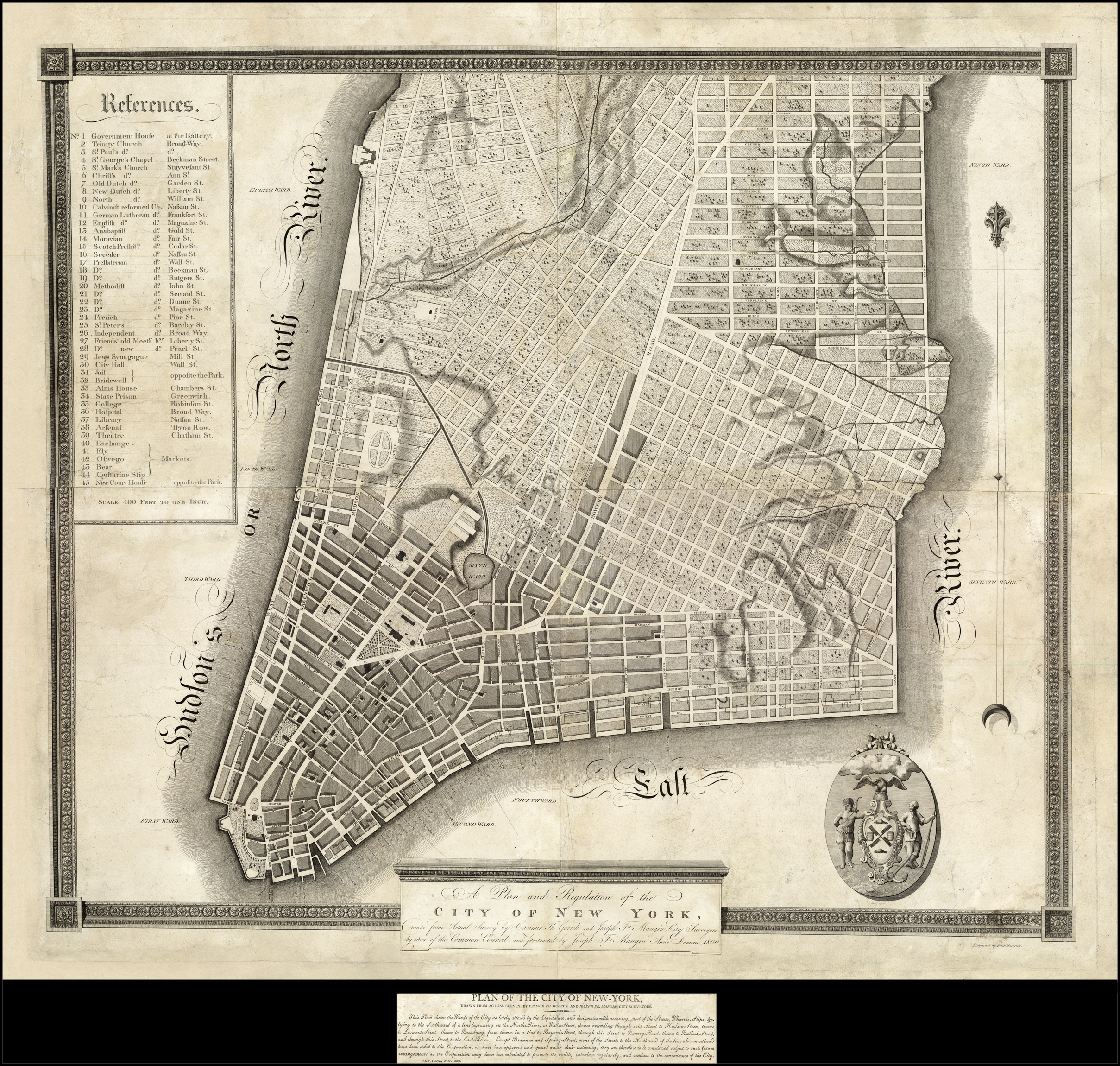 Map Of New York 1800.A Plan And Regulation Of The City Of New York Made From