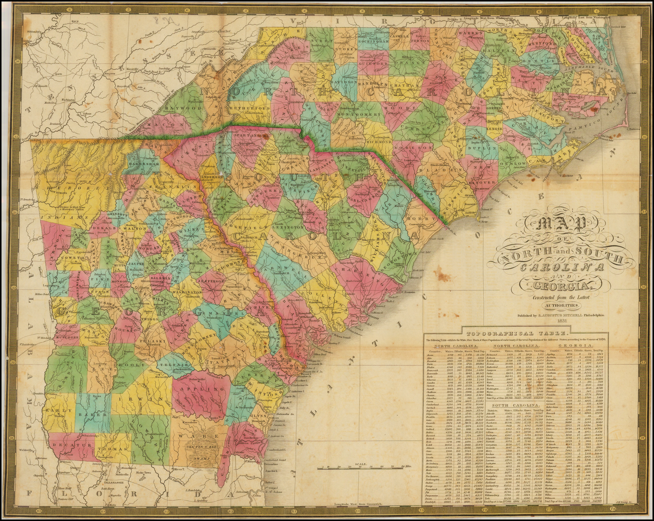 Map Of Georgia 1700.Map Of North And South Carolina And Georgia Constructed From The