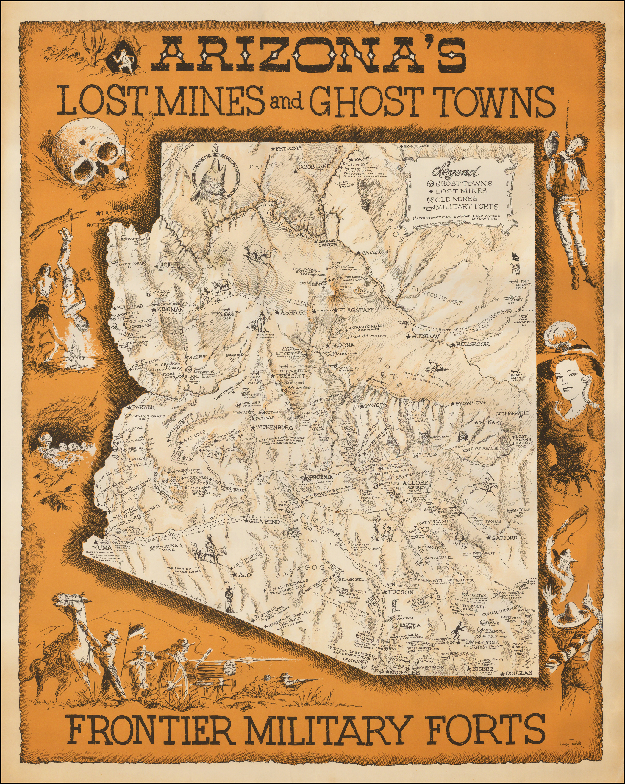 Map Of Arizona Mines.Arizona Lost Mines And Ghost Towns Early Spanish Missions Barry