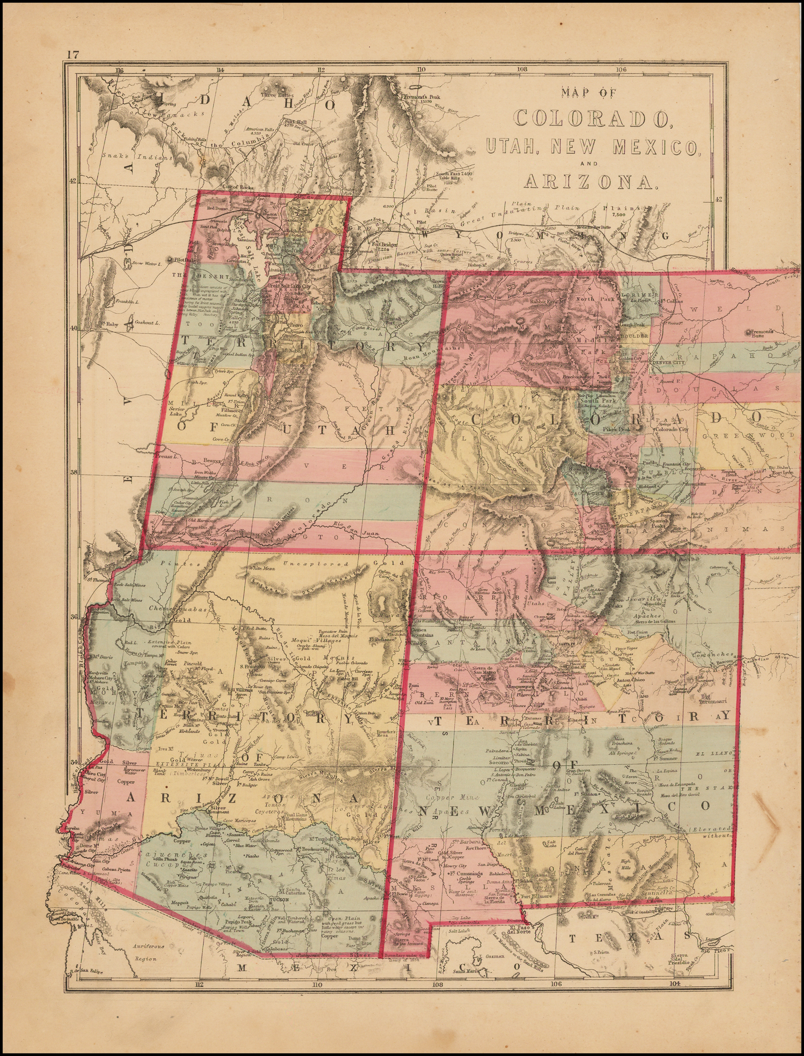 Map Of Arizona Utah And Colorado.Map Of Colorado Utah New Mexico And Arizona Barry Lawrence