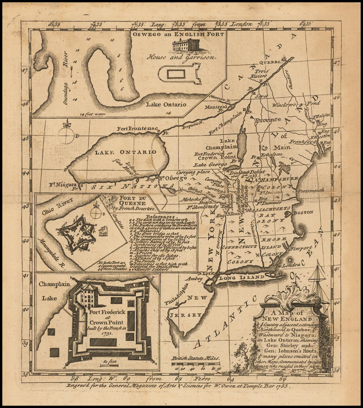 Map Of New England And Quebec.A Map Of New England Ye Country Adjacent Extending Northward To
